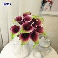 10 stücke real touch calla lilien & vase set, hochzeitsdekoration, tischdekoration, weiß orange grün gelb rot rosa lila