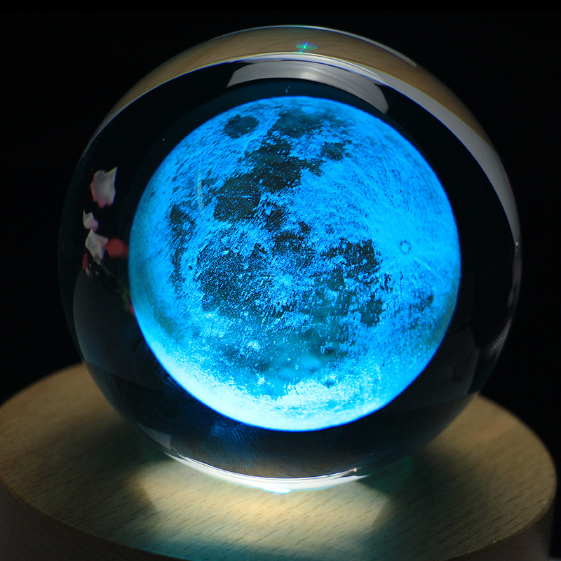 Rotatif lumineux lune boîte à musique boule de cristal 3d Illusion lampe USB Led veilleuse cadeau de noël enfants lumières décoration maison - 3