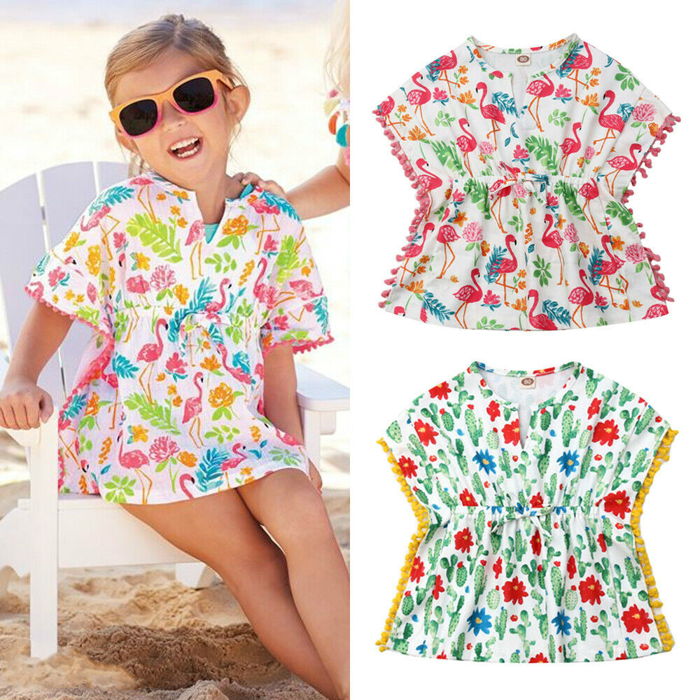 Toddler Kids Baby Girls Cotton Linen Beach Dress Little Girls Summer Bikini Cover-up Sundress Swimwear Cover Up