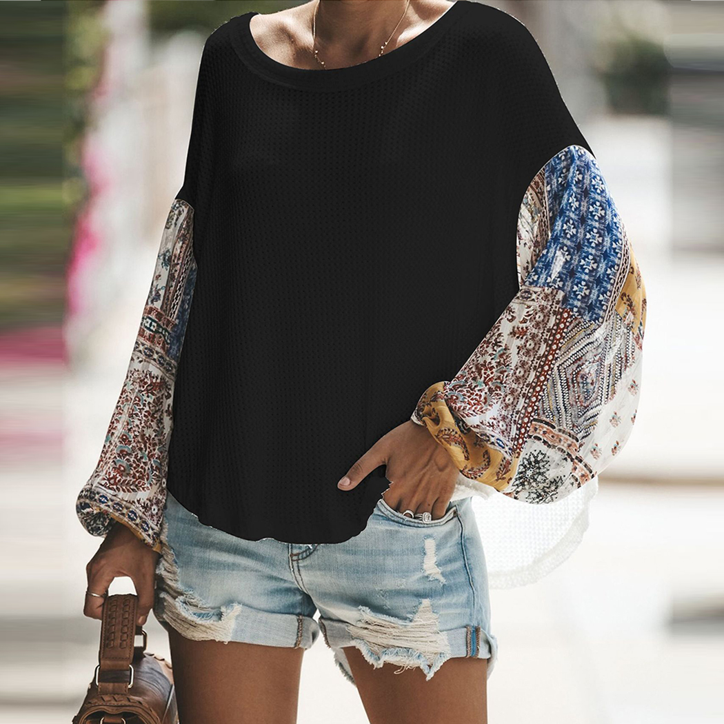 Fashion Women knitting Off Shoulder Patchwork Latern Sleeve Blouse Tops Boho Long Sleeves Casual Beach Loose Shirts Plus Size 2