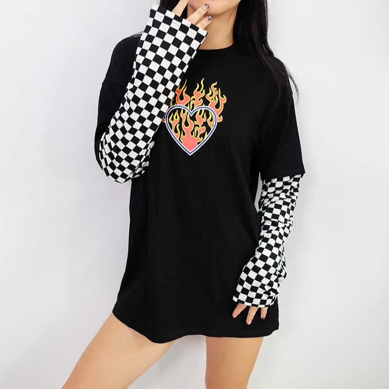 Женская клетчатая Лоскутная Толстовка с длинным рукавом и принтом сердца Топ черный клетчатый пуловер Футболка GRNSHTS
