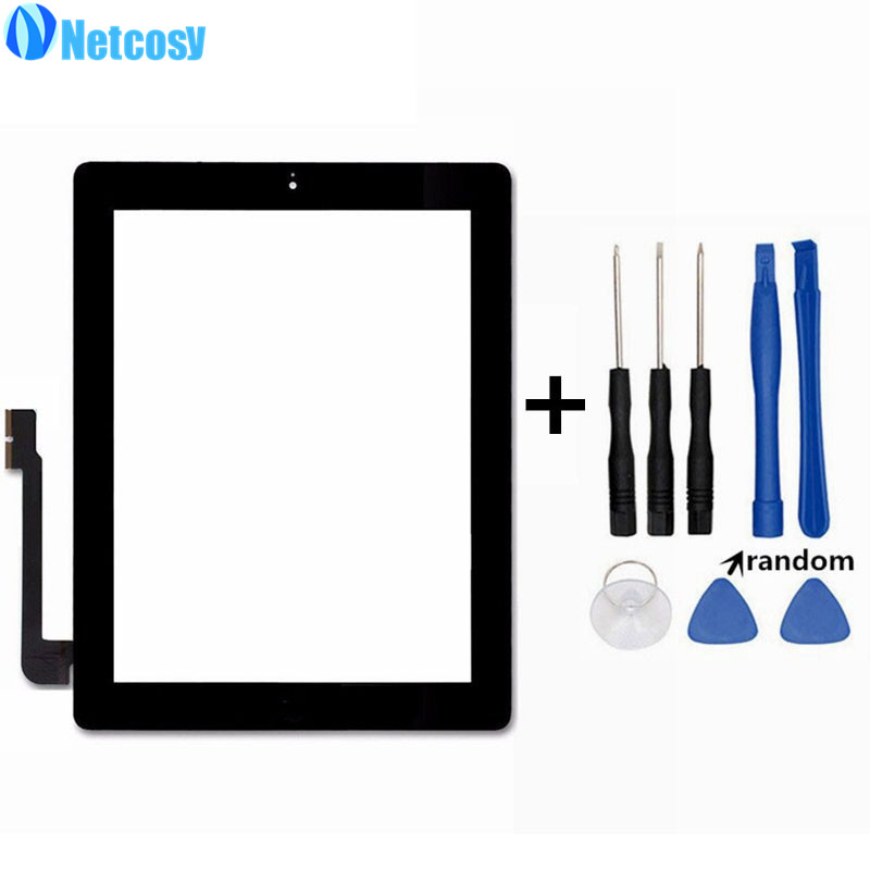 Netcosy For ipad 4 Touchscreen Black White Touch Glass Screen Digitizer Home Button Assembly For ipad 4 touch panel & Tools new touch panel for ipad air 1 ipad 5 touch screen digitizer flex cable front glass assembly adhesive with home button t0 3