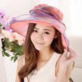2016 Новых женщин Лета Пляж Шляпа Мода Женский Sun Cap Органзы печать Пляж Шляпа Дамы Лето Anti UV Hat Желтый Красный Фиолетовый