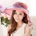 2016 Verano Nuevo de Las Mujeres de Moda Femenina Sol Casquillo de la Playa del Sombrero Del Organza Sombrero de La Playa Del Verano de Las Señoras de impresión Anti UV Sombrero Amarillo Rojo Púrpura