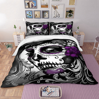 Gothic skull print Bedding Set Twin Full Queen King Super King All Sizes Duvet Cover set with Pillow Cases bed linen set new 3pc