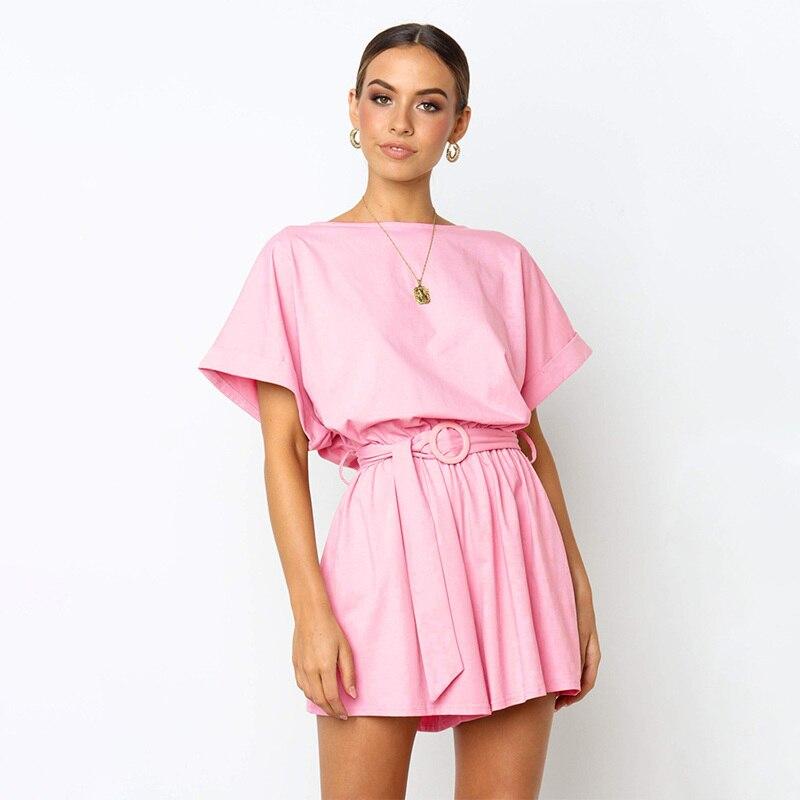 Barboteuses salopette pour femme femmes solide de couleur combinaison ample ceinture short sexy corps femmes streetwear combinaison d'été shorts élégant