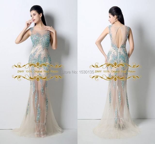 Hot sale luxury scoop mermaid sheer tulle vestidos evening dresses ...