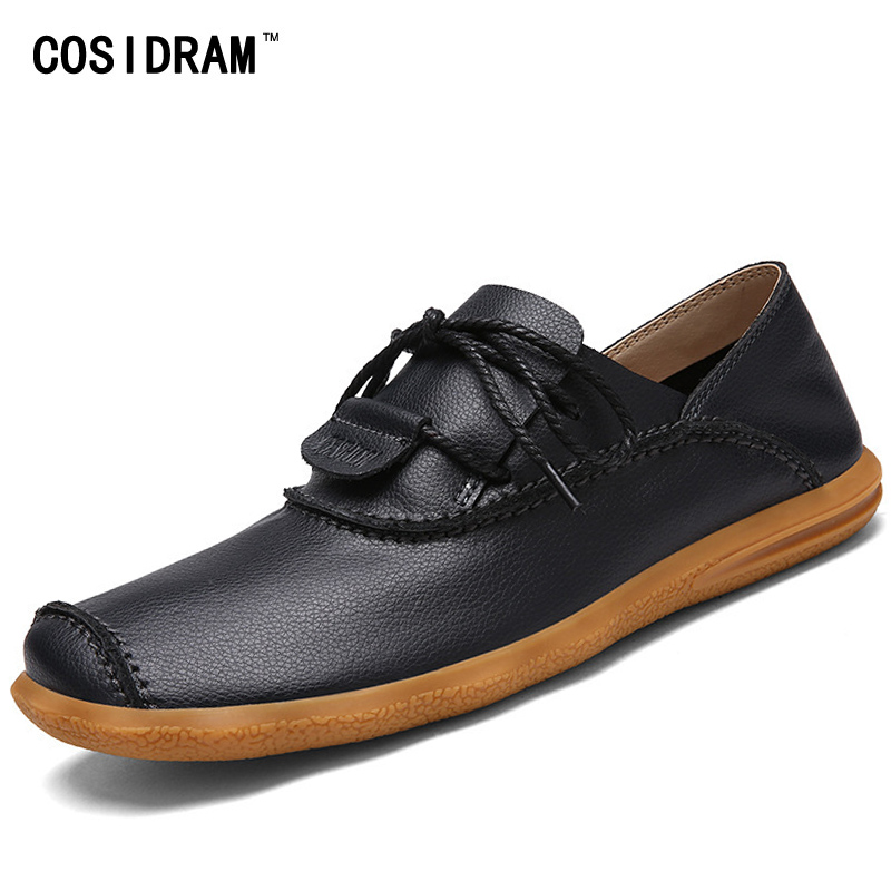 COSIDRAM Soft Bottom Genuine Leather Casual Shoes Men Flats Male Comfortable Driving Shoes New 2017 Footwear For Men RMC-396 male casual shoes soft footwear classic men working shoes flats good quality outdoor walking shoes aa20135