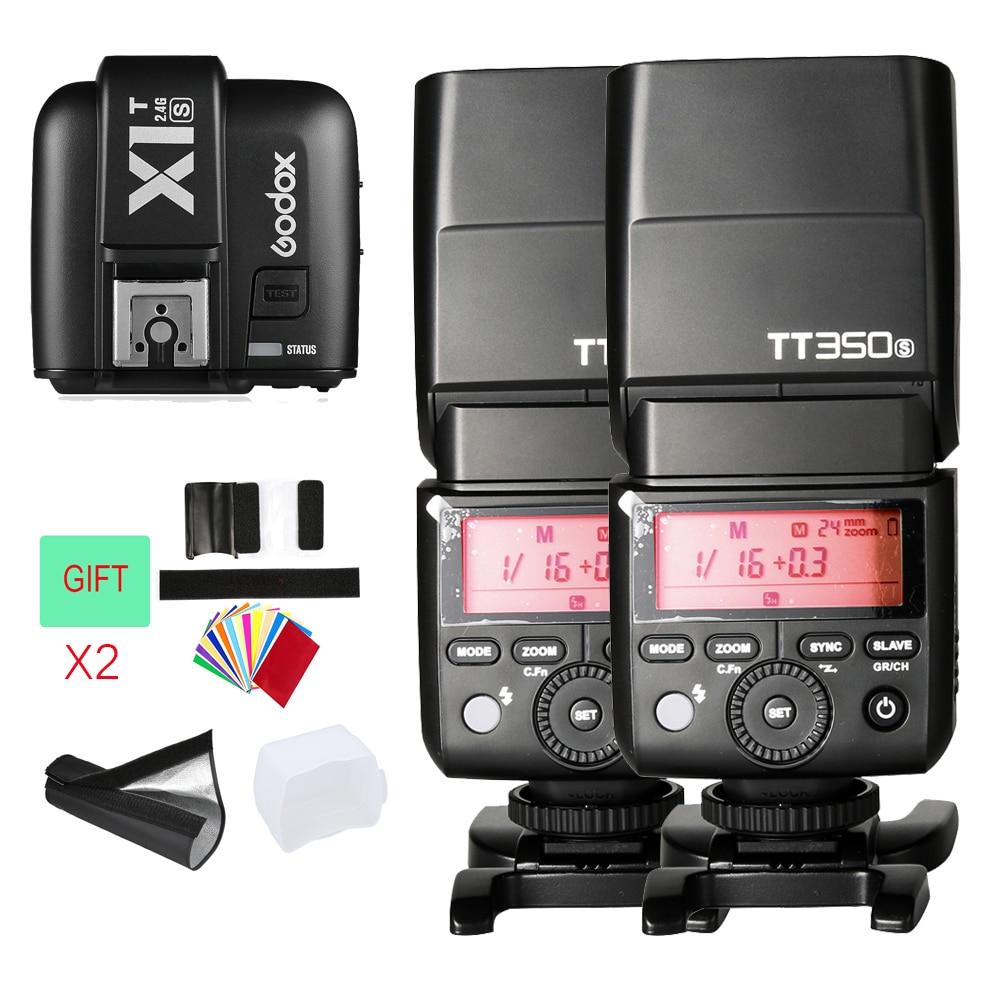2x Godox Mini Speedlite TT350S TT350N TT350C Camera Flash TTL HSS GN36 +X1T-S Transmitter for Sony Mirrorless DSLR Camera A7 godox tt685o ttl 2 4g wireless hss 1 8000s gn60 camera flash speedlite x1t o transmitter for olympus panasonic dmc fz2500gk