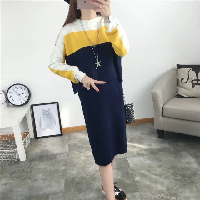 2016 New Arrival Women's Autumn Clothes Knitting Striped Pullover Top And Elastic Skirt Set Female Casual Suits 4Colors In