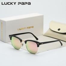 LUCKY PAPÁ Media Acetato Marco Vidrio gafas de Sol Mujeres de Los Hombres de la Marca Gafas de diseño Gafas de Sol de Espejo Gafas Gafas de Sol Uv400 3016