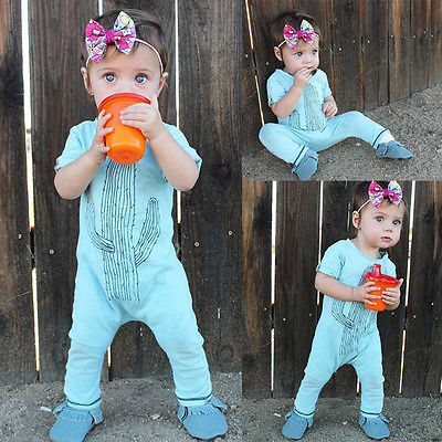 7322f9aa6232 ✓Toddler Baby Girl Boy Clothes Cactus Romper Jumpsuit Playsuit ...