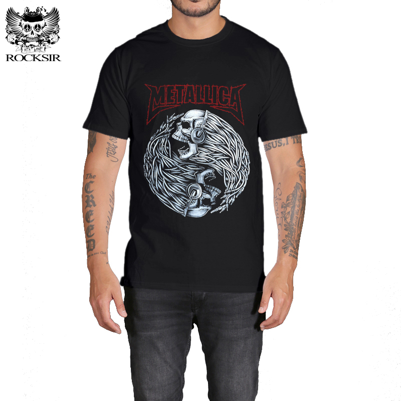 Rocksir men Heavy Metal   T     Shirt   Fashion Metallica Men   T     shirts   Men Brand Rock   T  -  shirt   Man Mens 3D Skull Print cotton   T  -  shirt