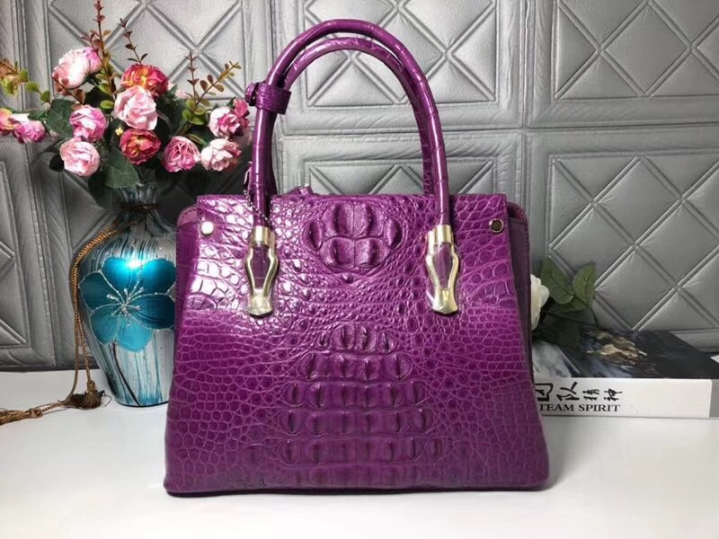 4b39272f90770 Classical Designer Genuine Alligator Leather Women s Large Capacity Purple  Purse Handbag Real Crocodile Skin Ladies Totes Bag