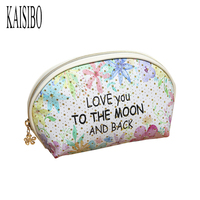 KAISIBO Mini Shell Cosmetic Bag Floral Pattern Women Makeup Necessaries 2017 New Small Zipper Travel Make