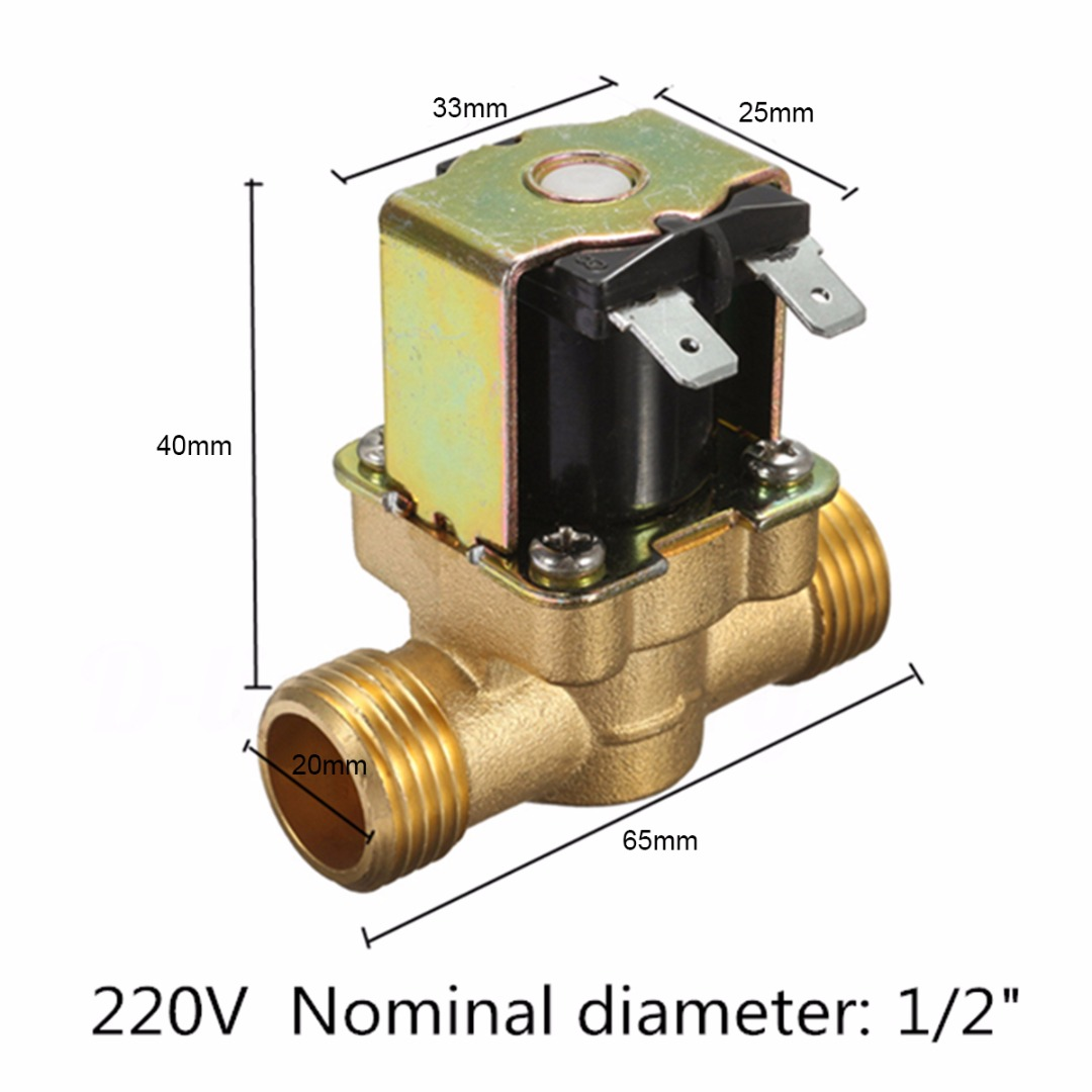 1pc 220V 1/2 2-Way Brass Electric Solenoid Valve Mayitr Normally Closed Steady Flow Valves for Oil Water Heaters Steam Machines