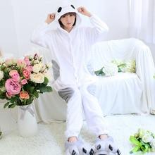 2017 New Unisex Winter Adult Cartoon Pajamas Flannel Full Little White Pajama Sets font b Women