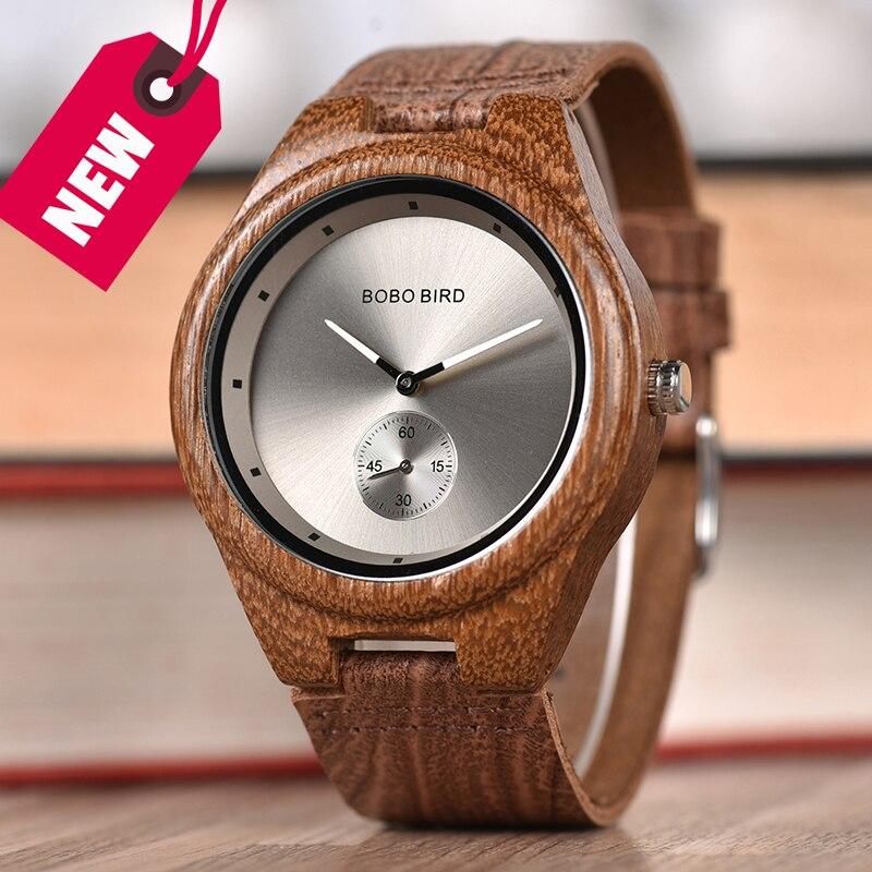 BOBO BIRD Men Watch Wood relogioTop Brand Quartz Watch Wooden Wristwatch Small second disk Gift box saat erkek Clock цены онлайн