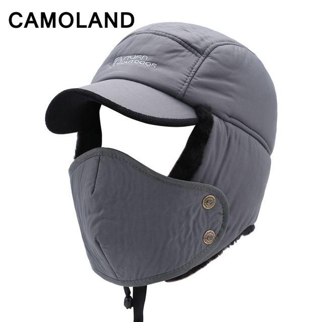 6ddf090a77b Winter hat for Men Bomber Hats For old man Dad hat Earflap Thicken Cotton Windproof  Neck warm balaclava face mask pilot helmet