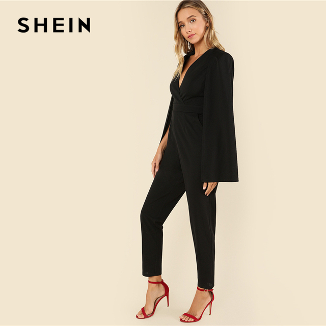 SHEIN Black Party Elegant Wrap Plunging V Neck Cloak Long Sleeve Solid High Waist Maxi Jumpsuit Autumn Women Casual Jumpsuit 1