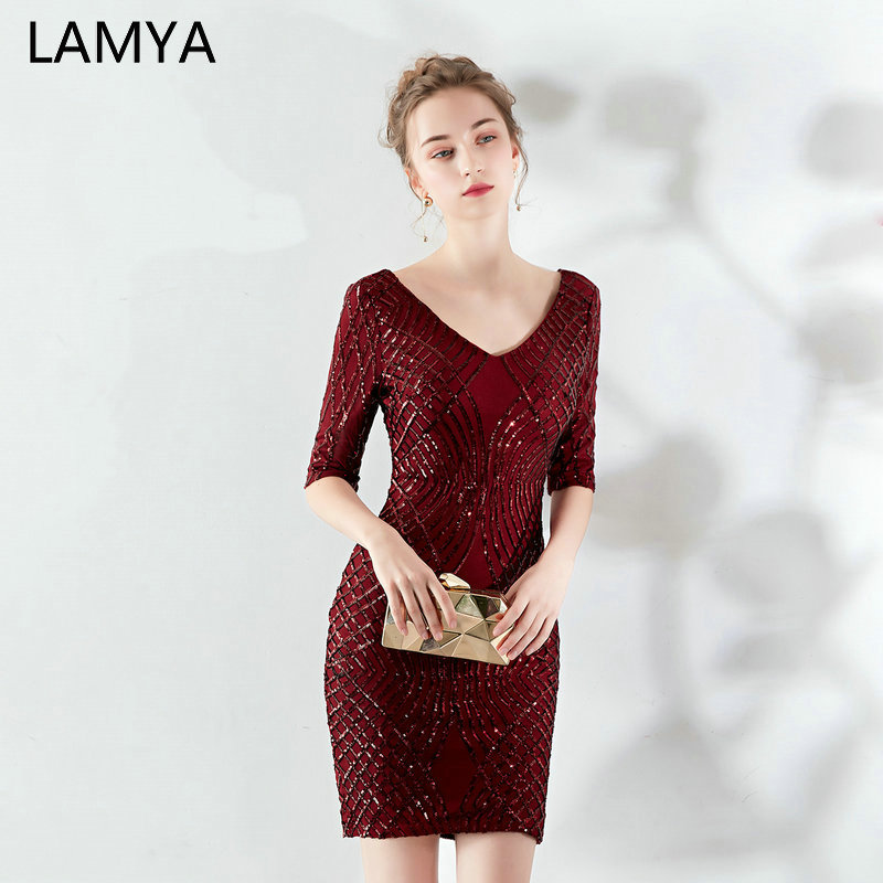 LAMYA Vintage Burgundy Knee Length   Prom     Dresses   2019 Half Sequined Sleeve Evening Party   Dress   Women Special Occasion   Dresses