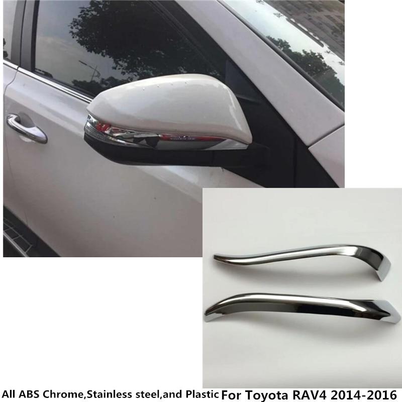 For Toyota RAV4 2014 2015 2016 2pcs font b Car b font body ABS chrome back