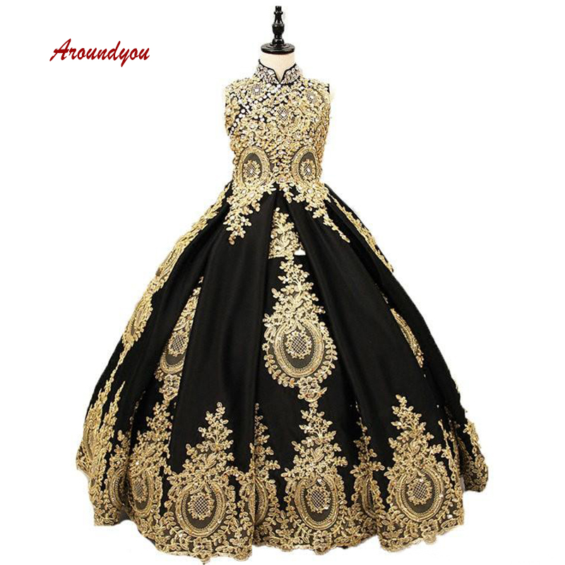 Black Lace   Flower     Girl     Dress   for Party and Weddings Tulle Pageant First Holy Communion   Girls     Dress   for   Girls   Gown 2019