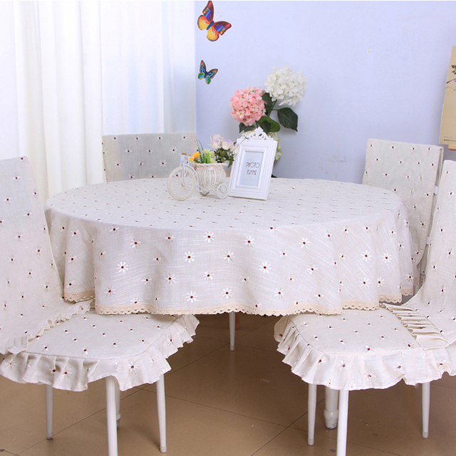 yazi Vintage Embroidered Flower Lace Tablecloth Round Tablecloth ...
