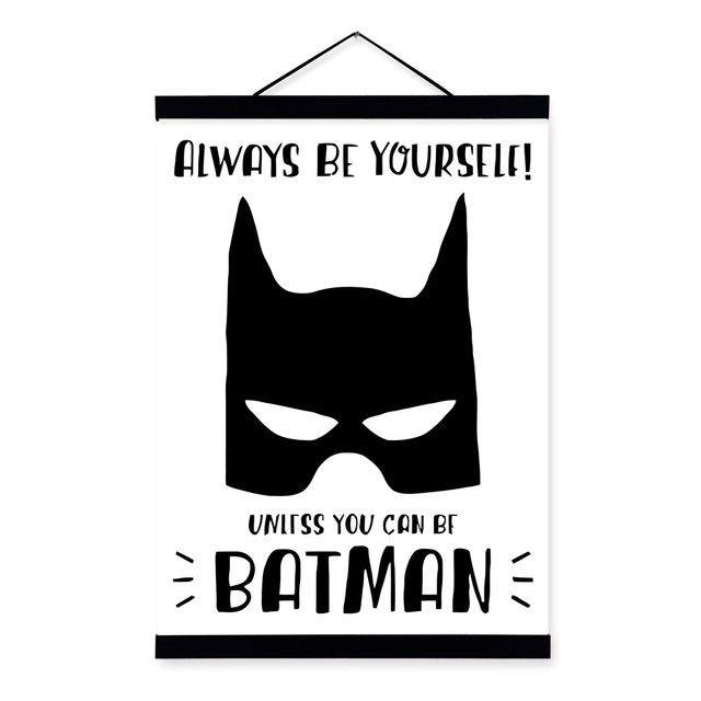 Black White Superhero Mask Batman Wooden Framed Posters Nordic Boy Room Wall Art Print Picture Home Decor Canvas Painting Scroll