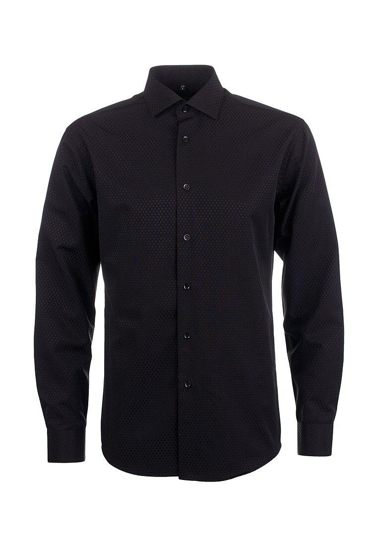 Shirt men's long sleeve GREG 343/139/046/Z Black plus size bird and floral print v neck long sleeve t shirt