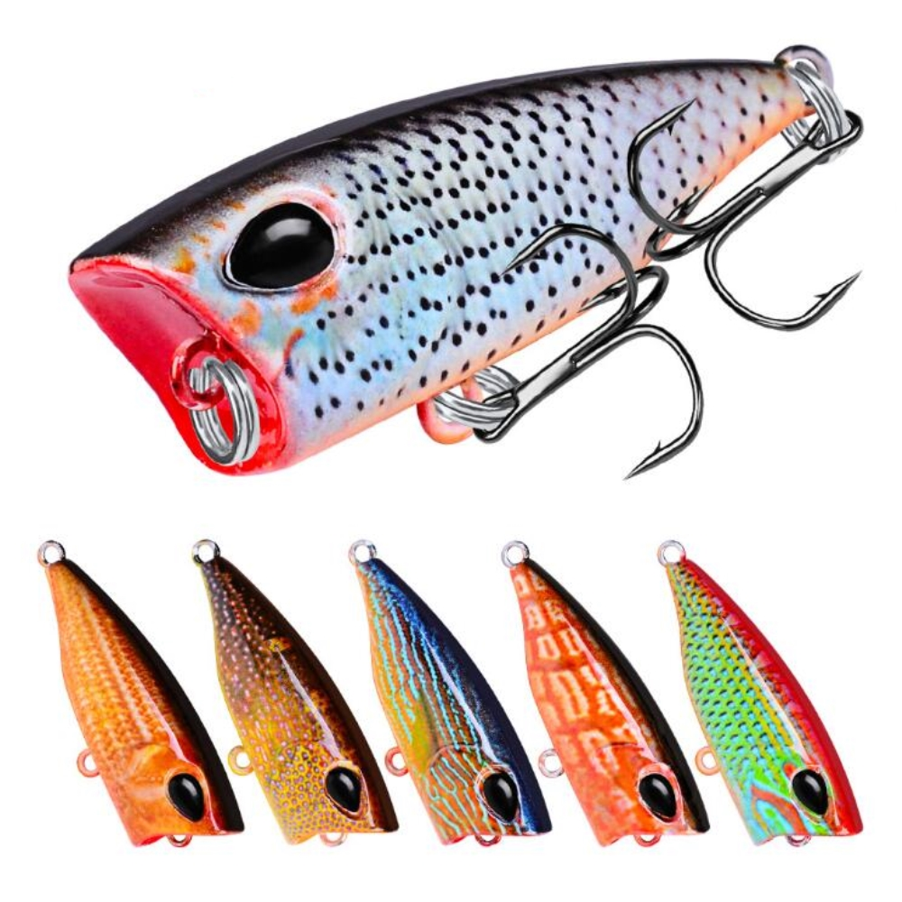 1pcs/lot 3D Eyes Lifelike Fishing Lure 42mm 3.5g 10# Hooks Pesca Fish Popper Lures Wobbler Isca Artificial Hard Bait Swimbait