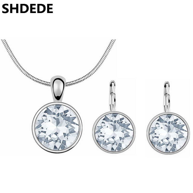 SHDEDE Big Round Pendants Necklace Earring Solitaire Clear Crystal from Swarovski High Quality Jewelry Sets For Women Gift shdede многоцветный