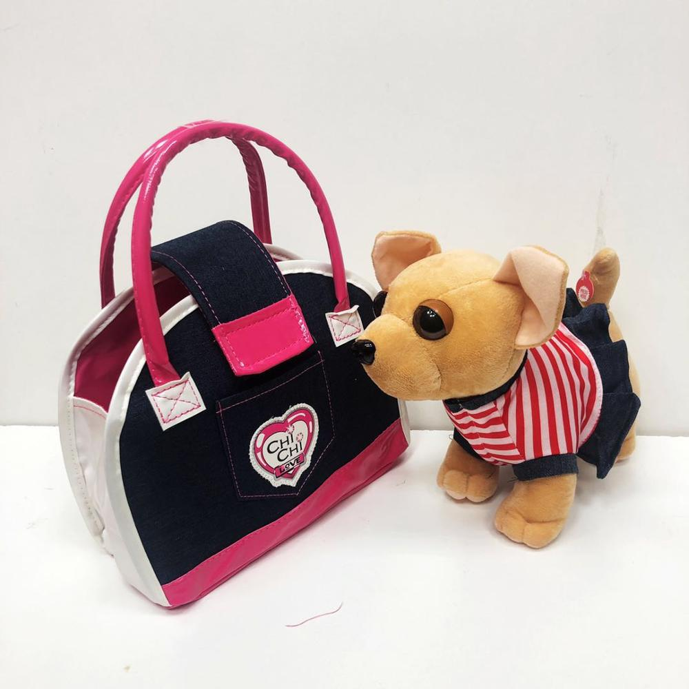 Chi Chi Love Plush Toys Music Pet Dog In Hand Bag NEW Cartoon For Childrens Birthday New Year Gifts For Girls  Chichilove