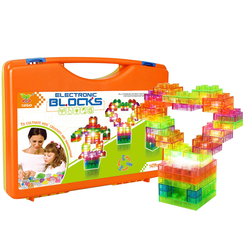 147PCS Double touch sound control lamp Building Blocks Learning&Education Toys for Kids Physics Learning,Compatible LegoBlocks physics education