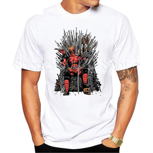 T-Shirt Da Forma do Projeto legal Deadpool no Trono de Ferro Game of thrones Deadpool T shirt dos homens de Manga Curta Tops tee