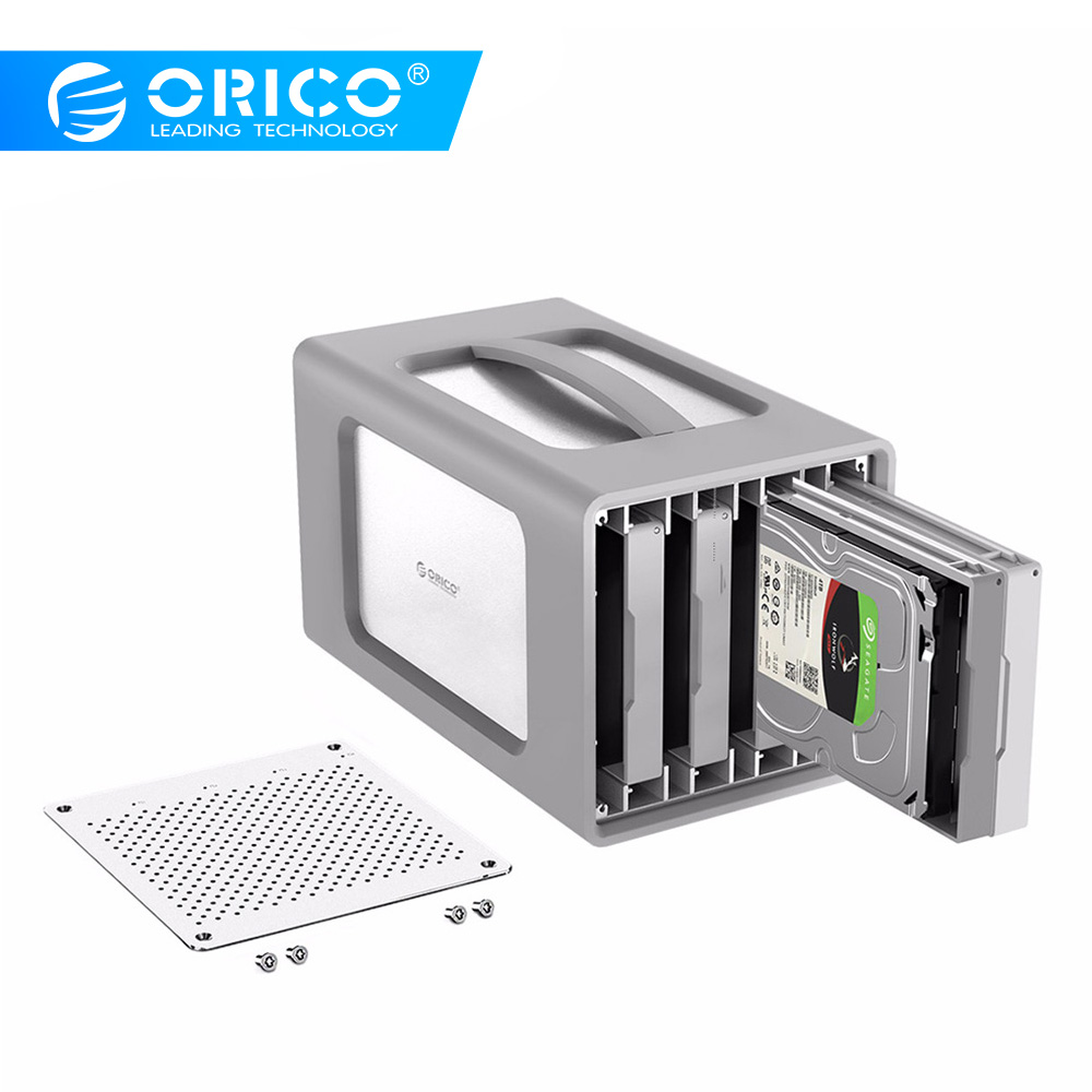 ORICO 4 Bay Aluminum Alloy Type-C Hard Drive Enclosure With Raid And Silicone Cover Support 40TB Storage 3.5Inch Hard Drive Case