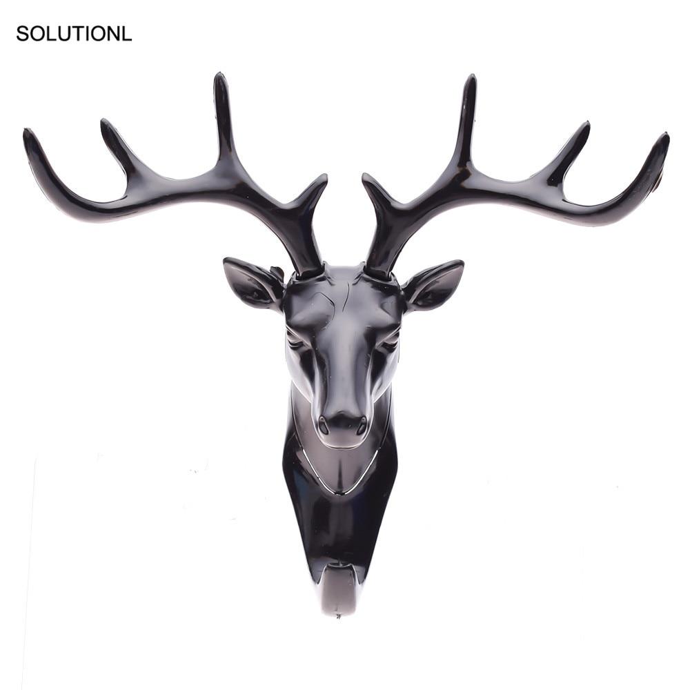 New Vintage Deer Head Antlers Wall Hook for Hanging Clothes Hat Scarf Key Deer Horns Hanger Rack Wall Decoration