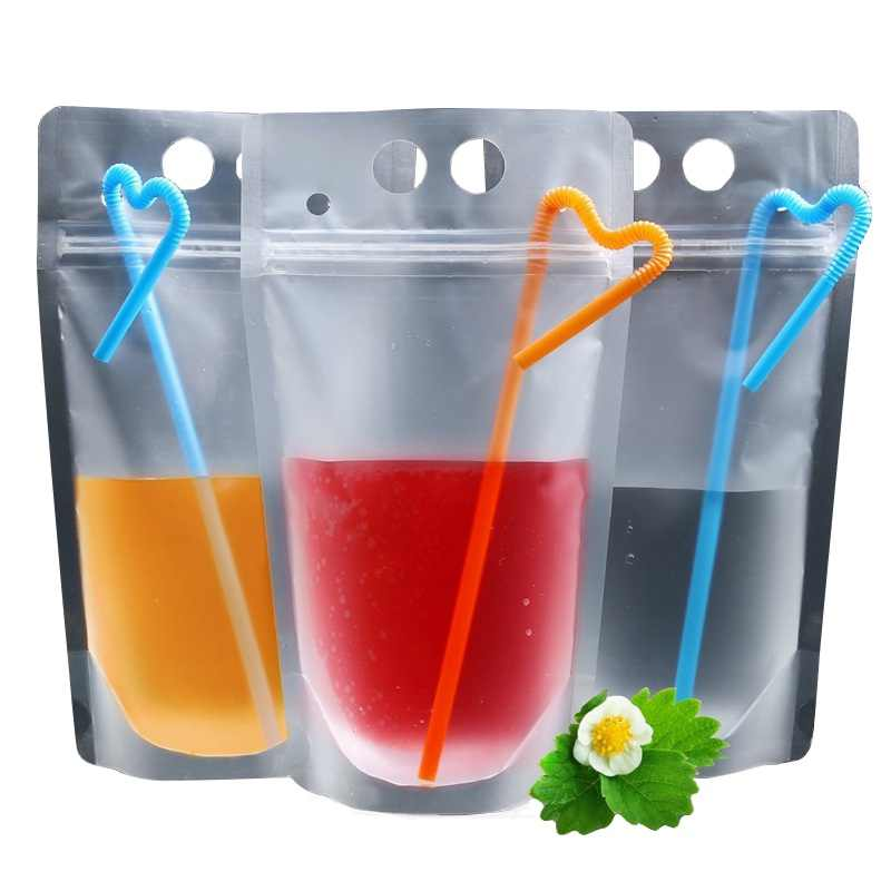 50PCS Disposable Juice Coffee Liquid Bag Kitchen Vertical Zipper Seal Drink Bag Clear Drink Pouches With Straw Party Tableware