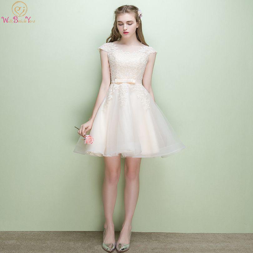 Lace Applique   Bridesmaid     Dresses   Pink Short 2019 Champagne Cap Sleeve A Line Tulle robe demoiselle d honneur Gowns Wedding Party