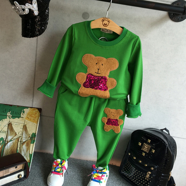 Autumn & Spring New Lovely Baby Girls Or Boys Clothing Set Bear Embroidery Both Top And Pants Sleeved Tees Top+Full Length Pants