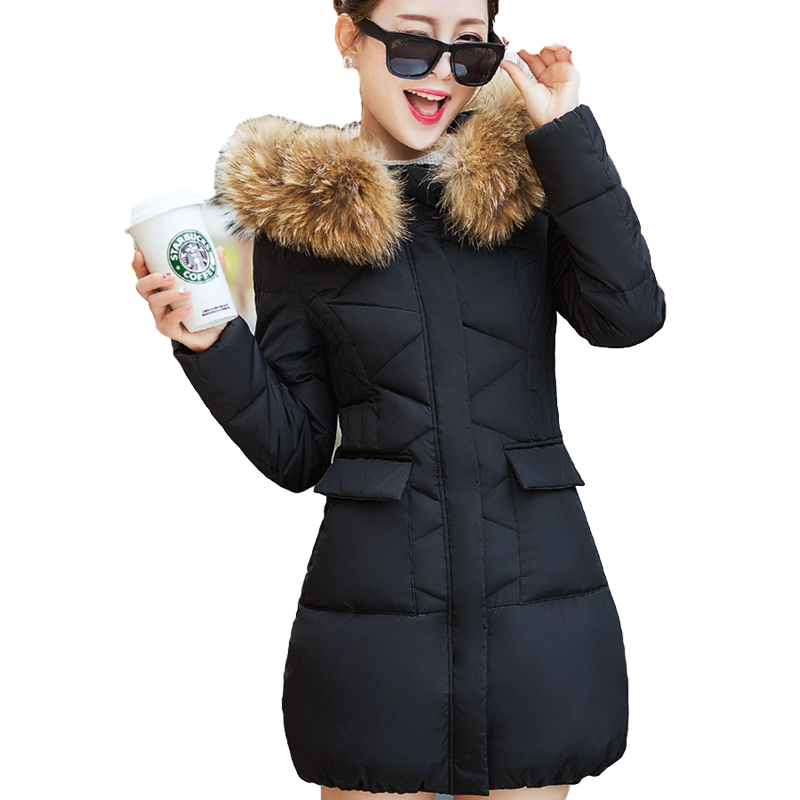 2016 New Winter Coat Women Medium-Long Ladies Hooded Jacket Cotton Padded Parkas Outerwear removed Fur Collar Female ST241 3 colors l 2xl 2015 new women winter down cotton padded coat female long hooded wide waisted jacket zipper outerwear zs247