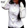 Белая Блузка 2016 Новая Мода С Длинным Рукавом Работы Бизнес-Офис Дамы Блузки Повседневная Кнопка Blusas 3 Цвета Женской Одежды