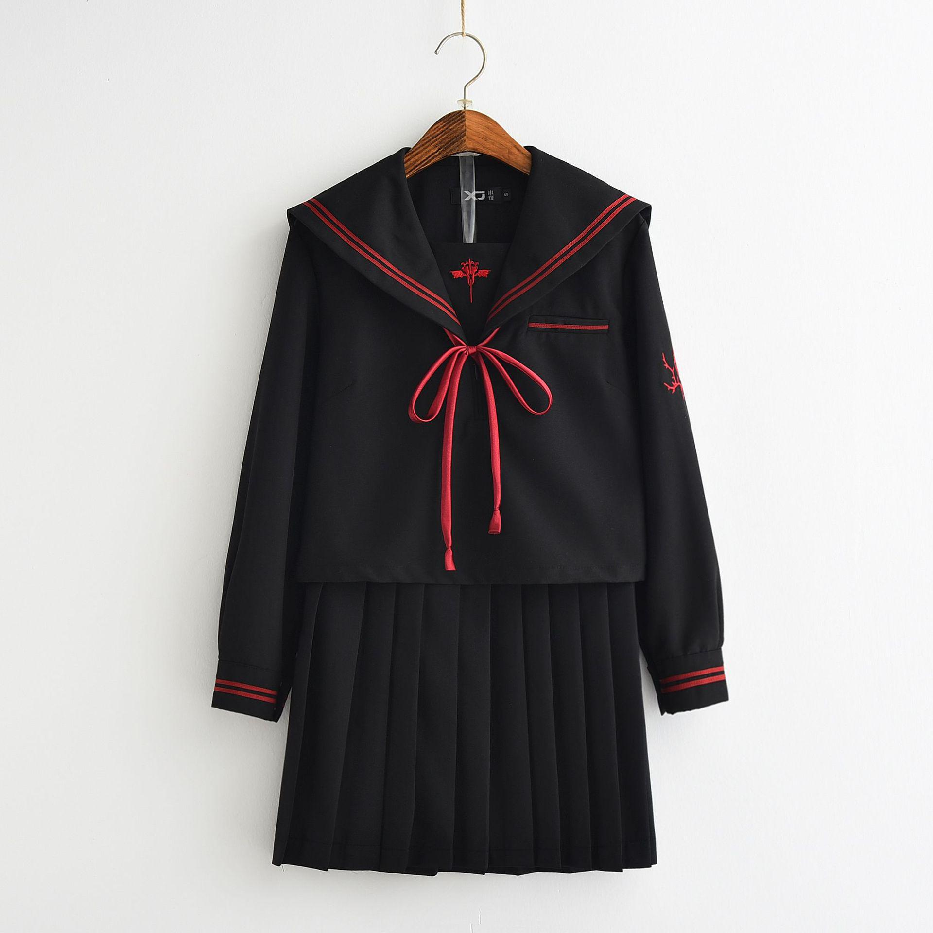 New School Uniforms Japanese Dark Devil Bad Junior Design Long Sleeve Autumn Winter Collage Student Sailors Uniforms Jk Cosplay