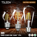 E27 Filament LED Bulb 110V 220V COB LED Light 4W 8W 12W 16W Retro Candle Bulb lampada led Glass Housing Lamps bombillas