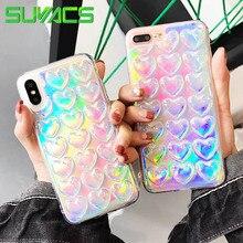 SUYACS Parlak 3D Kalpler Gökkuşağı Holografik Lazer Telefonu iphone için kılıf 5 S 6 6 S 7 8 Artı X XS MAX XR Yumuşak TPU Arka Ç...