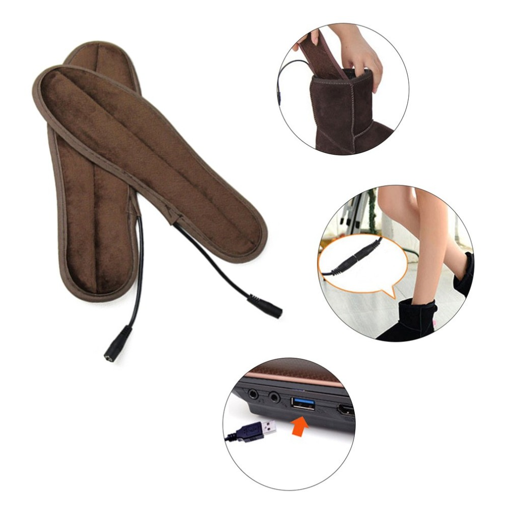 Super Soft Velvet USB Heating Boot Insoles Electric Heated Foot Warmer Winter Shoes Pads Cushions Shoes Accessories 1 Pair