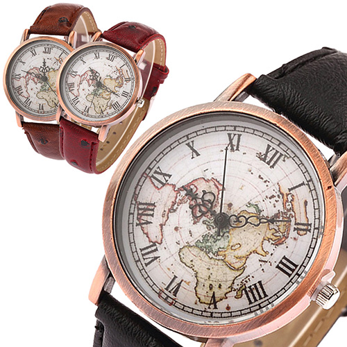 2016 New Arrival Women s Vintage Style World Map Roman Numbers Quartz Casual Cuff Wrist Watch