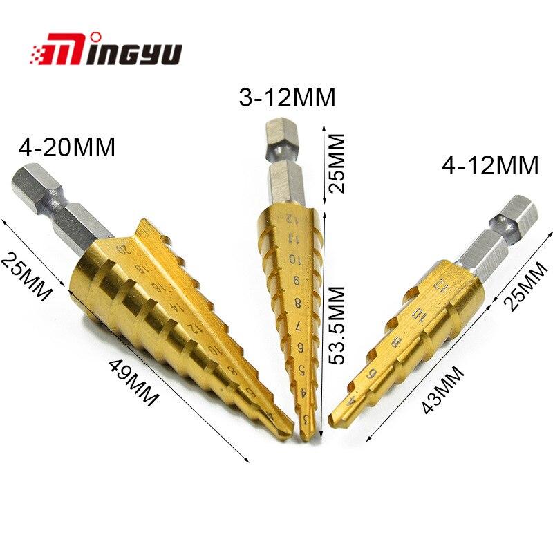 Zelfverzekerd Metric Spiraal Fluit De Pagode Vorm Gat Cutter Boren Hex Schacht 3-12/4-12/20mm Hss Staal Kegel Stap Metalen Boor Set Modieuze (In) Stijl;