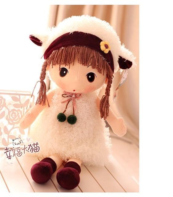 Super funny 65cm 1pc cartoon sweet white dress girl sheep soft plush doll hold pillow children baby birthday gift stuffed toy