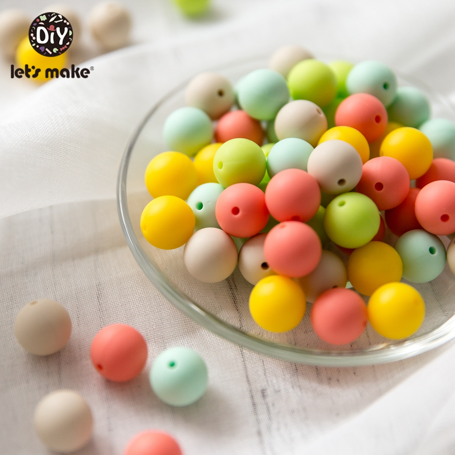 Let's Make Silicone Beads Teether Candy Color 50PC 12mm Materials Baby Teether DIY Baby Safe Rattle Toys Sensory Toys Beads